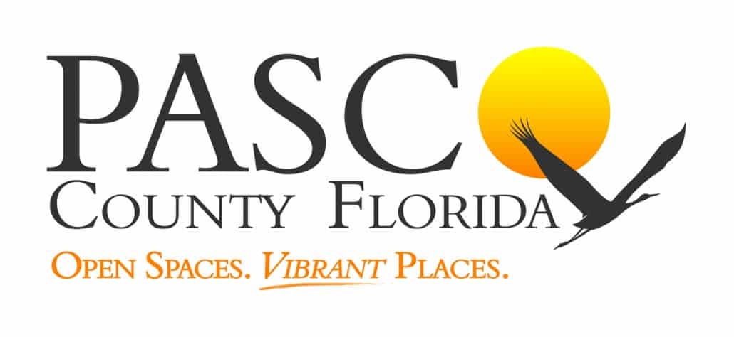 Pasco County Florida. Open Spaces. Vibrant Places logo sunset with a flying bird