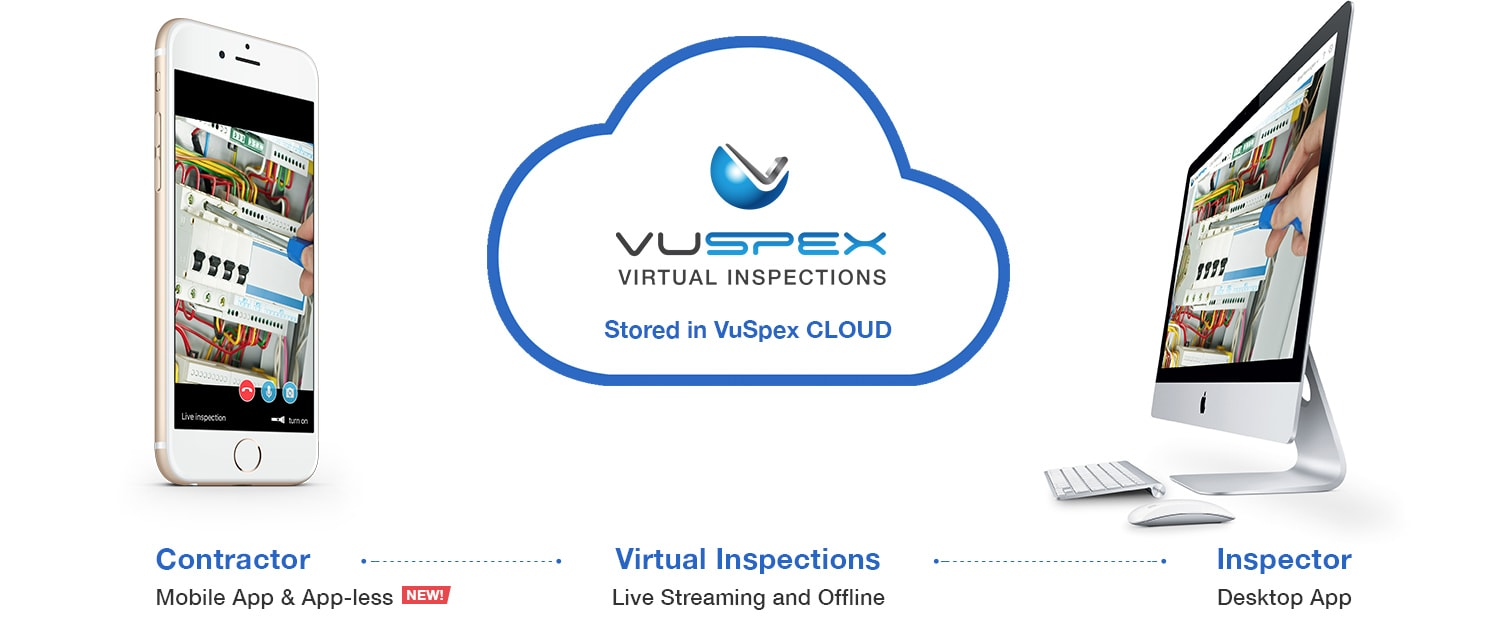 VIrtual Inspections. Laptop and mobile smartphone with VuSpex software on the screens