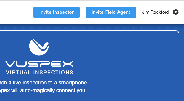 CLICK Invite Inspector and FIeld Agent buttons on the dashboard