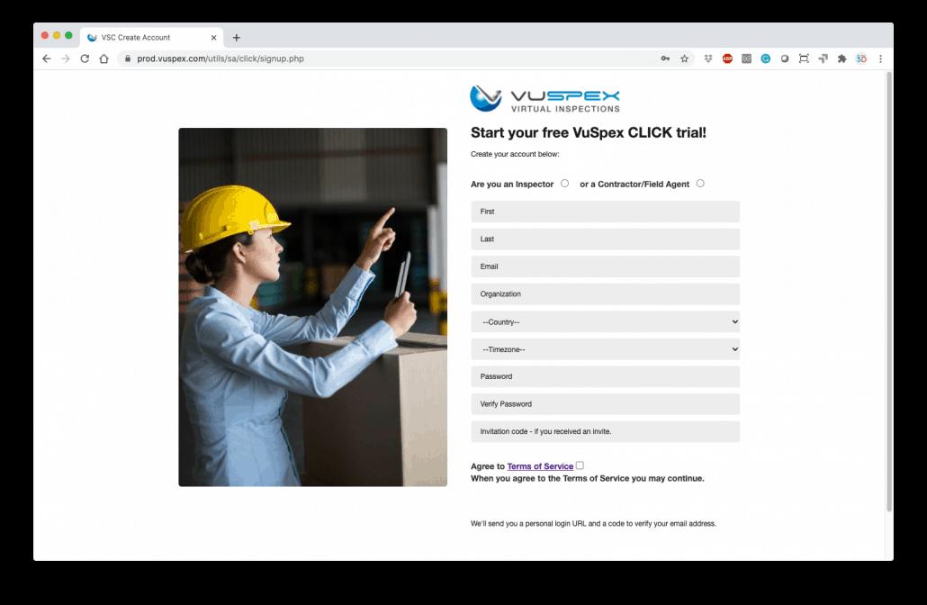 VuSpex CLICK Sign-up screen