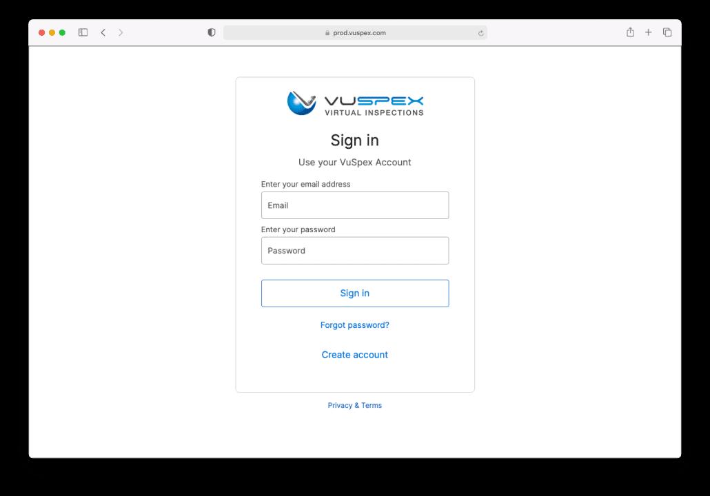 VuSpex CLICK Sign in Safari