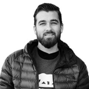 About VuSpex team member Bryan Stevens. Black and white photo headshot.